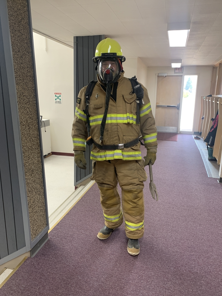 For Fire Safety Week Russ Kluesner visits the elementary students.